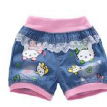 Hot Shorts New Baby Girls Cowboy  Jeans Cartoon Cat Lace Pocket Demin Cool Summer Pants denim  for girl Z108AT_43_3