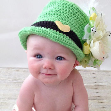 Crochet Leprechaun Baby Hat - Size Preemie, Newborn, Baby, Toddler, and Children