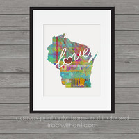 Wisconsin - WI Canvas Paper Print:  A Modern and Colorful Abstract Watercolor Style Original Art Piece / Home State Love Map