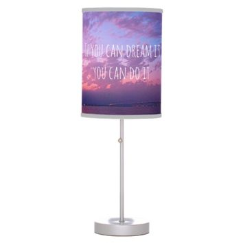 """Dream it"" quote purple sunset photo table lamp"