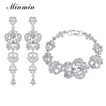 Minmin Luxury Butterfly Crystal Jewelry Sets Wedding Prom Earrings Bracelets Sets African Beads Jewelry Sets EH163+SL026