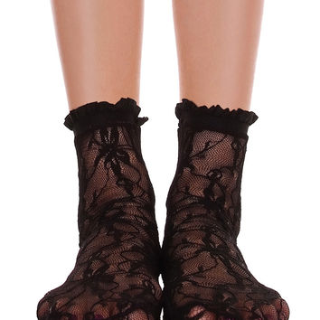 Lace With Ruffle Ankle Socks Black