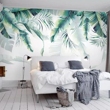 Custom Photo Mural Wallpaper Retro Tropical Rain Forest Palm Banana Leaves Wall Painting Bedroom Living Room Sofa 3D Wall paper