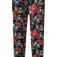 Patterned cigarette trousers - Black/Floral - Ladies | H&M GB