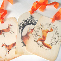 Red Woodland Fox Tags Set of 9 Various Sizes