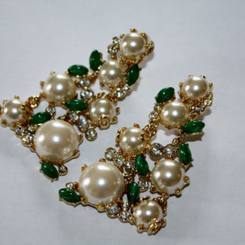 Vintage Earrings Carnegie KJL Pearl Rhinestone Jade Statement Runway Couture 1950s Jewelry
