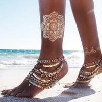 2015 New Fashion Statement Vintage Hand Made Multilayers Gold Shining Round Coin Pieces Tassel Anklet Barefoot Bracelet Jewelry