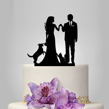 bride and groom silhouette wedding cake TOPPER with dog and cat, funny cake topper, unique cake topper, custom  wedding cake topper, acrylic