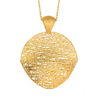14k Yellow Gold Birds Nest Weave Inspired Pendant Necklace, 18""