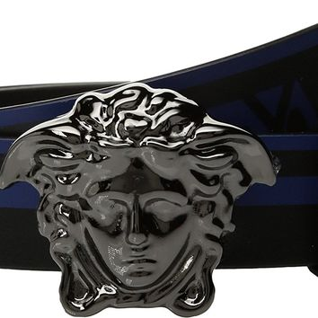Versace Kids Boy's Medusa Buckle Belt w/ Stripe (Big Kids) Blue/Black Belt