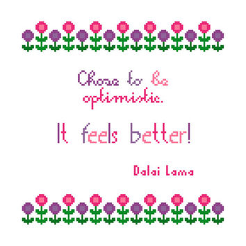 Pretty floral sampler in naive style. Modern cross stitch quote. Contemporary cross stitch pattern.
