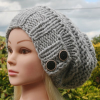 Knit Hat Womens Hat Slouchy Hat in Soft Grey -Beanie Hat-Womens Accessories