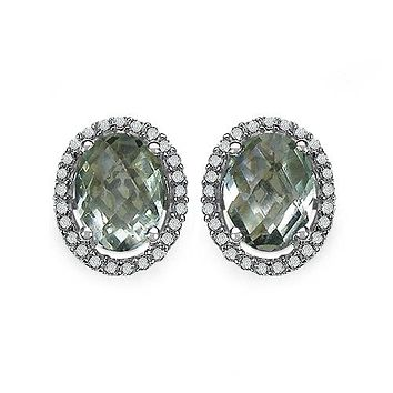 Natural Oval Cut Green Amethyst Natural White Diamond Halo Stud Earrings