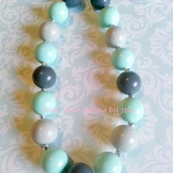 Mint and Grey Chunky necklace, bubble gum necklace, toddler boutique necklace, baby chunky necklace, ribbon chunky necklace, popular