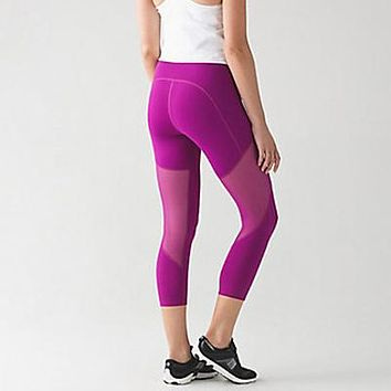 Lululemon Women Casual Gauze Elastic Yoga Sport Pants Trousers