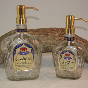 Soap/Lotion Dispenser Upcycled from Crown Royal Liquor Bottle
