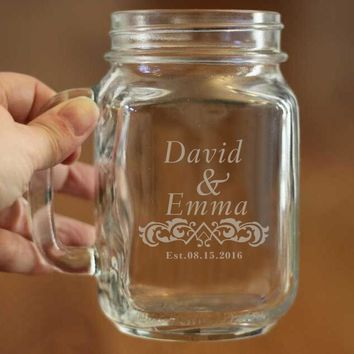 Mason Jar Glass Mason Mug Perfect for Wedding/Anniversary/Birthday Party Decor Custom Name and Special Dates Couple DIY Jars Cup