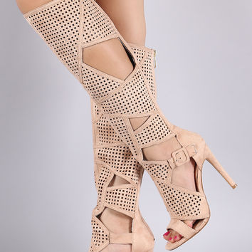 Suede Perforated Cutout Stiletto Knee High Boots