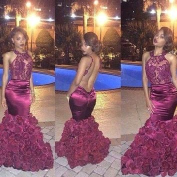 Vestidos De Novia Open Back Long Prom Dresses Floral Mermaid Prom Dresses Sexy Evening Gowns 2016 Prom Dress