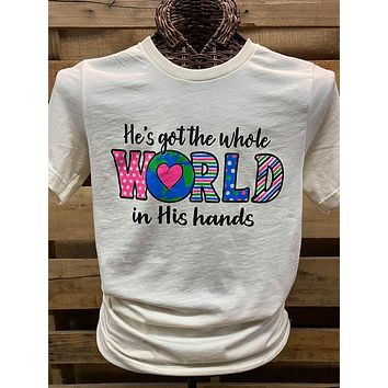 Southern Chics Apparel He's Got the Whole World in His Hands Canvas Bright T Shirt
