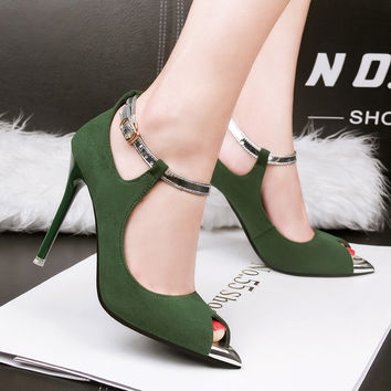 Europe Style Rome Party Shoes Women's Shoes Fashion Peep Toe High Heels Sexy Spring & Summer Suede Female Pumps Cut-Outs