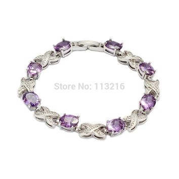 Fleure Esme Double Infinity Women bracelet Silver Plated Purple Cubic Zirconia CZ Fashion Elgane Love Jewelry For Female R678