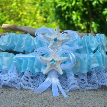 Beach Wedding Starfish Garter Set-TIFFANY AQUA BLUE-Beach Coastal Weddings, Destination Weddings, Mermaids, Aqua Turquoise Blue