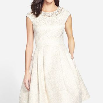 Women's Eliza J Embellished Jacquard Fit & Flare Dress