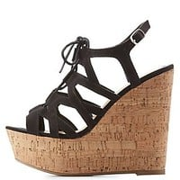 LACE-UP CORK WEDGE SANDALS