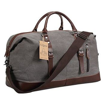 Ulgoo Travel Duffel Bag Canvas Bag PU Leather Weekend Bag Overnight