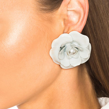 Alessandra Rich Pearl Center Rose Earrings in White | FWRD
