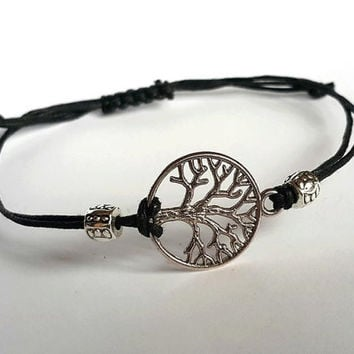TREE of LIFE BRACELET String Bracelet Charm Bracelet Wax Cord Bracelet Wrapp Bracelet Cord Mens Bracelet Adjustable men's bracelet