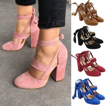 Women Bandage Ankle Lace Up Round Toe High Block Heels Shoes Prom Party Sandals