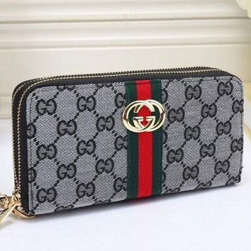 Gucci Fashion Trending Print Female Zipper Leather Wrist Hand Bag Grey G-MYJSY-BB