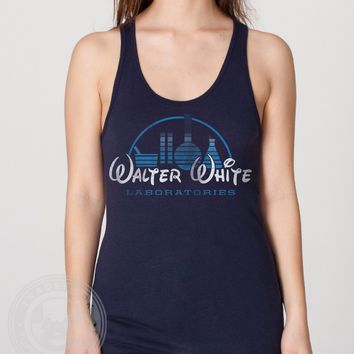 Navy Blue Walter White Laboratories meth lab funny disney themed Breaking Bad T Shirt American Apparel BB408 Poly Cotton 50/50 unisex Tank Top for Men or Women