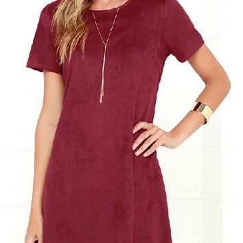 Burgundy Suedette Scallop Hem Shift Dress