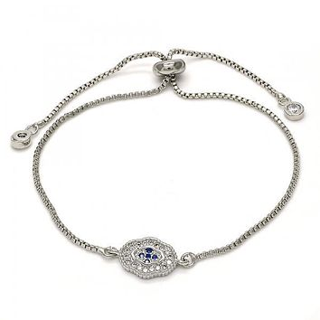 Rhodium Plated 03.205.0045.10 Fancy Bracelet, with Sapphire Blue and White Micro Pave, Polished Finish, Rhodium Tone