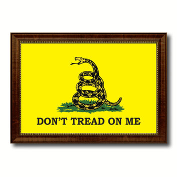 Don't Tread on Me Military Flag Canvas Print Brown Picture Frame Home Decor Wall Art Gift Ideas