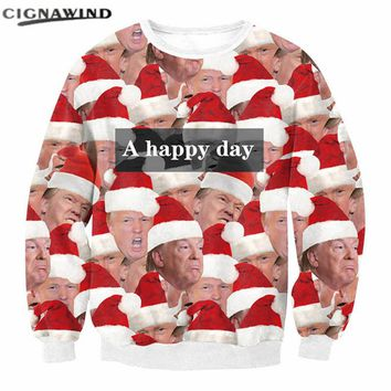 New Arrival Christmas Sweatshirts men/women Funny Donald Trump emojis 3D Printed hoodies X-mas Streetwear Hip hop Pullovers tops