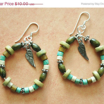 ON SALE Wood Bead Hoop Earrings / Angel Wing Charms/ French Wire / Natural/ Earthy/ Handmade Beaded Earrings / Fashion Jewelry