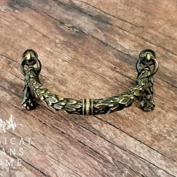 KBC Garland Drawer Pull Antique Furniture Pull French Dresser Hardware Gold Swag Drawer Pull Brass Decorative Drawer Pull Gold Cabinet Pull