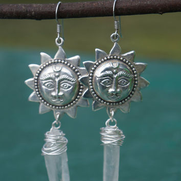 Quartz Earrings / Sun Jewelry / Gemstone Earrings / Dangle Earrings / Boho Jewelry / Loteria Jewelry / Sterling Silver / Charm Earrings