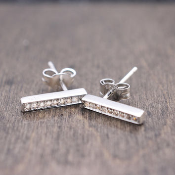 925 sterling silver bar stud earrings with pave cz