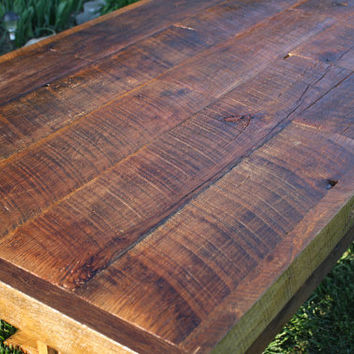 YOUR Custom Made Rustic Reclaimed Barn Wood Double Tressel Farmhouse Dining Table or Conference Table