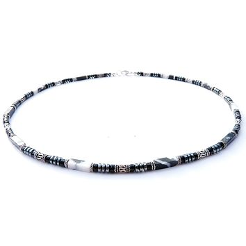 Mens Chakra Necklace Sodalite Crystal Healing Stones Energy Balancing Jewelry Steadfast | Determined | Confident | MN27