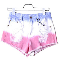 Tri-Colored Distressed Jean Shorts