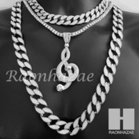 "Hip Hop G clef Pendant 16"" Iced Out Choker 18"" Tennis 30"" Miami Cuban Chain 20S"