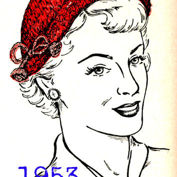 1953 Crochet Pattern-Rolled Brim Hat-Large and Small Hat Size-Crochet Pattern-1950s Housewife-Mad Men-Clothing Pattern-VintageCrafts PDF-USA