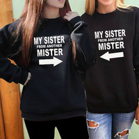 2 Matching Best Friend sweatshirts Best Friends Gift My Sister From Another Mister women best friends sweater matching bff crewneck felpa