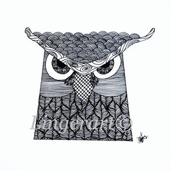 Owl zentangle original ink drawing zendoodle art  bird wise owl